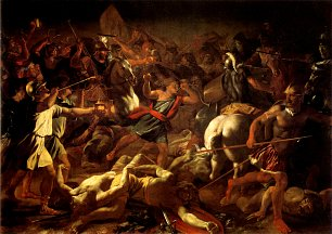 Nicolas Poussin Battle of gideon against the midianites Wandbild