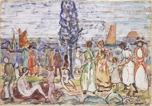 Maurice Prendergast Beach with Blue Tree