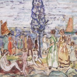 Maurice-Prendergast-Beach-with-blue-trees