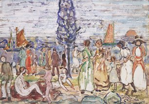 Maurice Prendergast Beach with blue trees