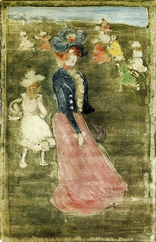 Maurice Prendergast lady in a pink skirt