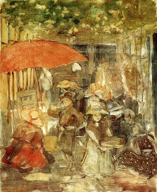 Maurice Prendergast picnic with red umbrella