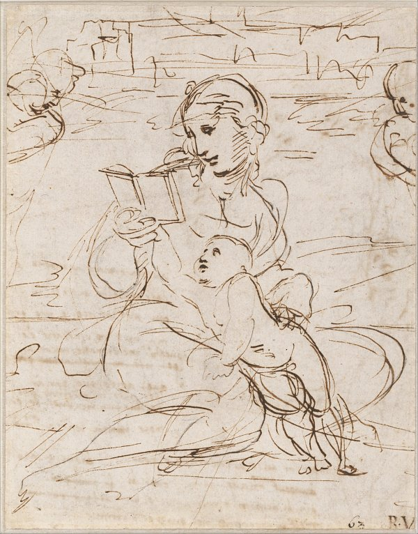 Raffael Reading Madonna and Child in a Landscape betweem two Cherub Heads