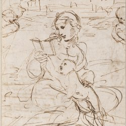 Raffael-Reading-Madonna-and-Child-in-a-Landscape-betweem-two-Cherub-Heads