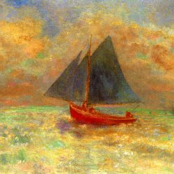 Odilon-Redon-Blue-Boat-with-a-red-Sail