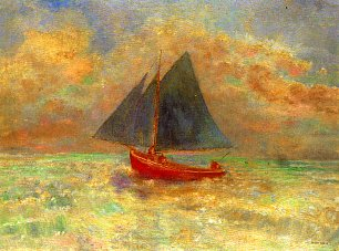 Odilon Redon Blue Boat with a red Sail