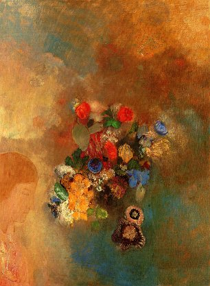 Odilon Redon Girls profile with Flowers