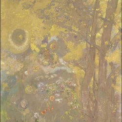 Odilon-Redon-Trees-on-a-yellow-Background