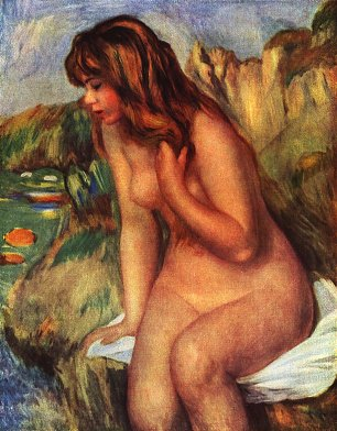 Auguste Renoir Badende auf einem Felsen sitzend Wandbilder