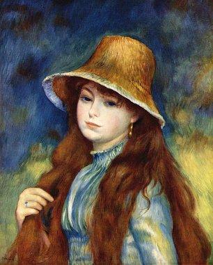 Auguste Renoir Maedchen mit Strohhut Wandbilder