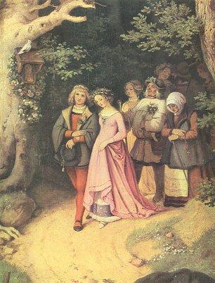 Ludwig Richter Brautzug im Fruehling Detail Wandbilder