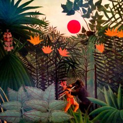 Henri-Rousseau-An-american-indian-stuggling-with-a-gorilla