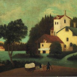 Henri-Rousseau-wagon-in-front-of-the-mill