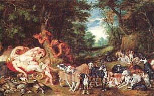 Rubens Nymphen Satyrn und Hunde Wandbilder