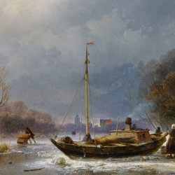 Andreas-Schelfhout-A-Wintry-Scene-with-Figures-Near-A-Boat-On-The-Ice