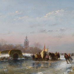 Andreas-Schelfhout-A-frozen-waterway-with-skaters-by-a-refreshmentstall