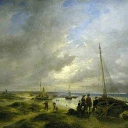 Andreas-Schelfhout-Beach-at-Katwijk