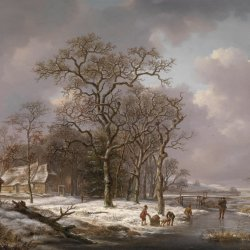 Andreas-Schelfhout-Figures-in-a-Winter-Landscape
