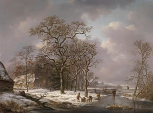 Andreas Schelfhout Figures in a Winter Landscape