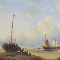 Andreas-Schelfhout-Fischervolk-with-beached-vessels