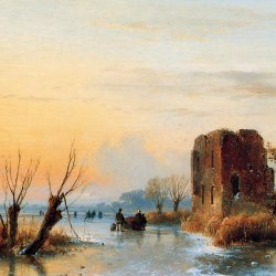 Andreas-Schelfhout-Ruin-in-winter-landscape