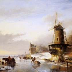 Andreas-Schelfhout-Scaters-frozen-river-mill-Sun