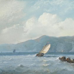 Andreas-Schelfhout-Shipping-near-a-rocky-coast