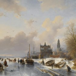 Andreas-Schelfhout-Skaters-on-a-frozen-river-near-a-dutch-town