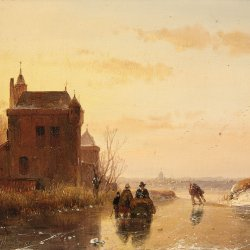 Andreas-Schelfhout-Winter-Landscape-with-a-Fort
