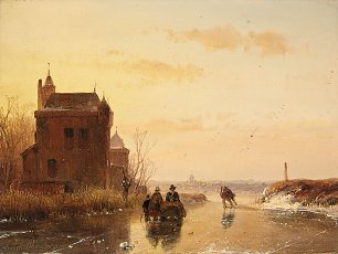 Andreas Schelfhout Winter Landscape with a Fort