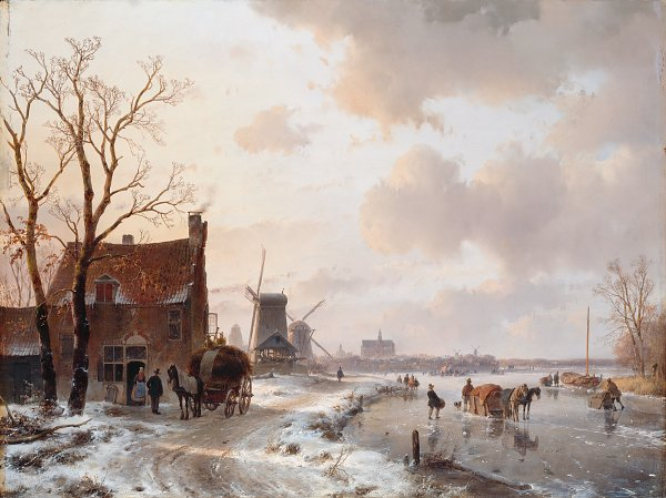 Andreas Schelfhout Winter landscape with horses on the ice