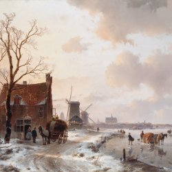 Andreas-Schelfhout-Winter-landscape-with-horses-on-the-ice