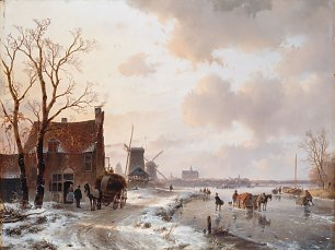 Andreas Schelfhout Winter landscape with horses on the ice Wandbild