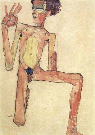 Egon Schiele Kniender Akt SelbstPortraet Wandbilder