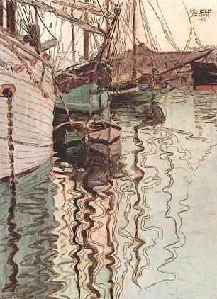 Egon Schiele Segelschiffe im wellenbewegten Wasser Wandbilder
