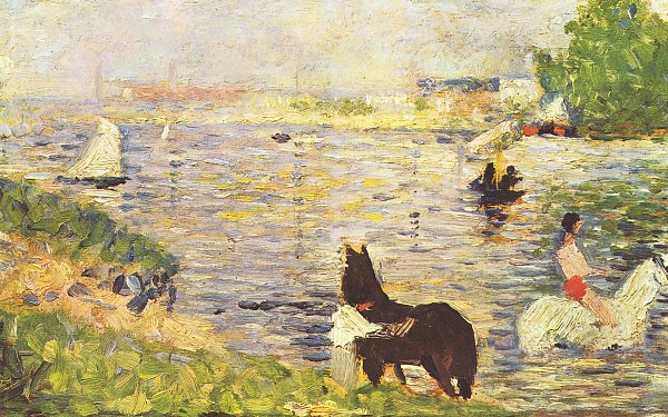 Georges Seurat Weisses und schwarzes Pferd im Fluss