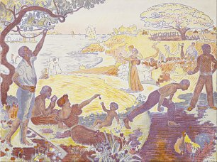 Paul Signac In the Time of Harmony The Joy of Life Sunday by the Sea Wandbild