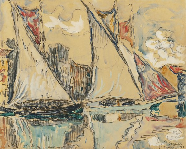 Paul Signac Saint Tropez Sailing Boats on the Shallow