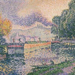Paul-Signac-The-Tugboat-Canal-in-Samois