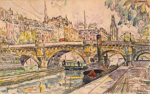Paul Signac Tugboat at the Pont Neuf Paris Wandbild