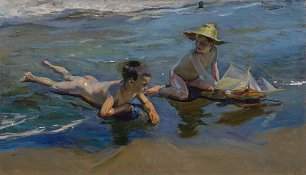 Joaquin Sorolla CHILDREN PLAYING ON THE BEACH Wandbild