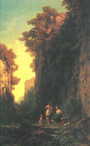 Carl Spitzweg Badende Frauen in einer Schlucht Wandbilder