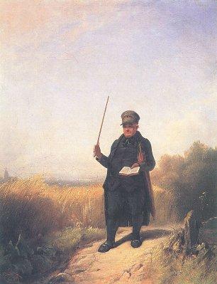 Carl Spitzweg Der singende Dorfpfarrer mit Brevier und Regenschirm beim Spaziergang durch die reifen Felder Wandbilder