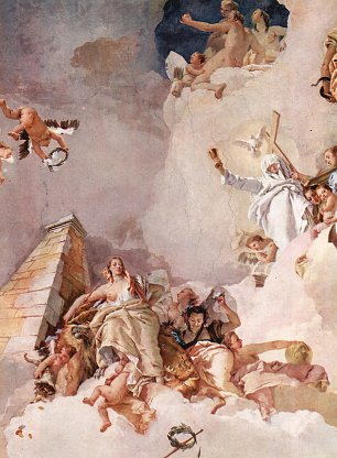 Tiepolo Koenigspalast Madrid Lobpreisung Spaniens Detail 2 Wandbilder