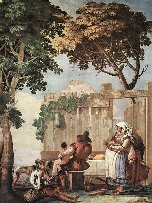 Tiepolo Villa Valmarana Bauernfamilie beim Mahl Wandbilder