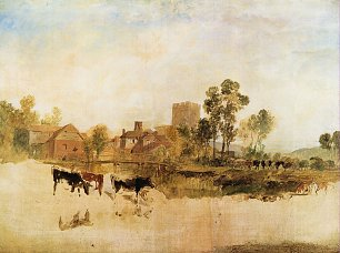 William Turner Muehle und Kirche in Goring Wandbild