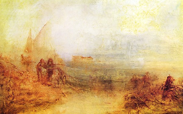 William Turner Wracks an der Kueste Sonnenaufgang im Nebel