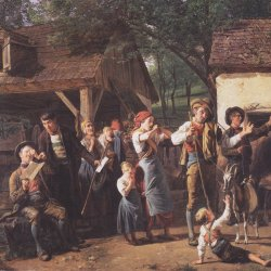 Mädchen Muttergottes Rose Schmuck Faksimile Ferdinand Waldmüller A3 07 Gerahmt