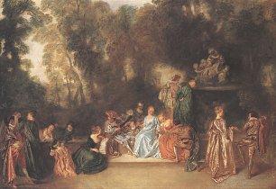 Antoine Watteau Gesellschaft im Freien Wandbilder