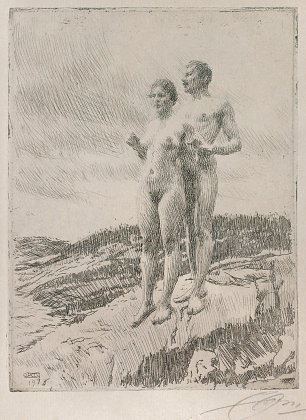 Anders Zorn The Two etching Wandbild